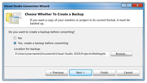 Visual Studio conversion Wizard