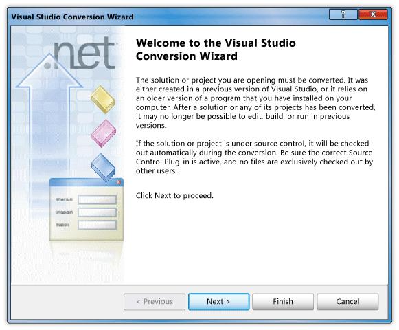Visual Studio Welcome Box