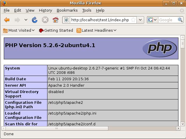 PHP Version 5.2.6-2 ubuntu4.1
